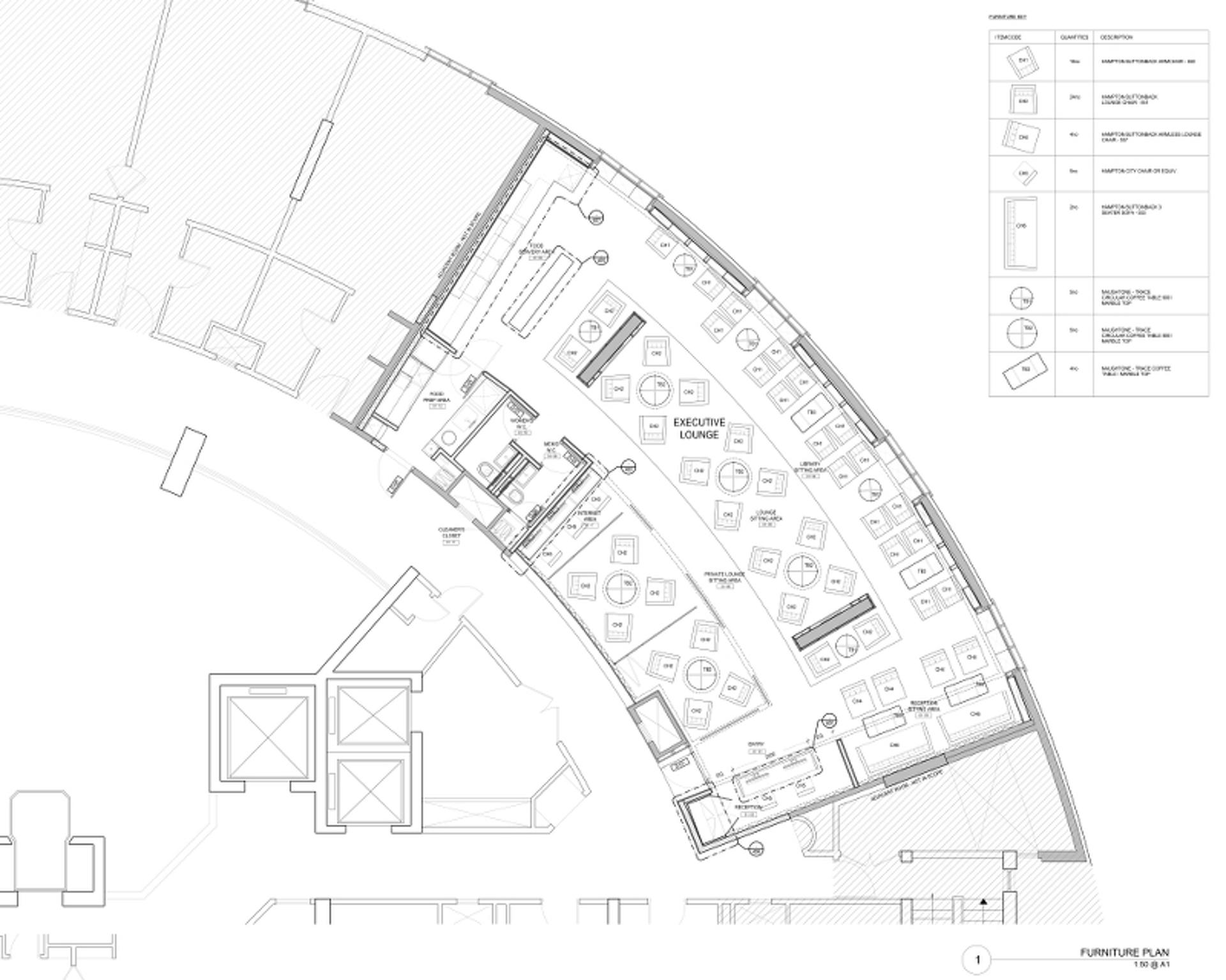 Hilton Executive Lounge Furniture Plan